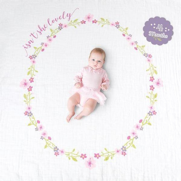 "Lulujo swaddle & cards ""Isn't she lovely"""