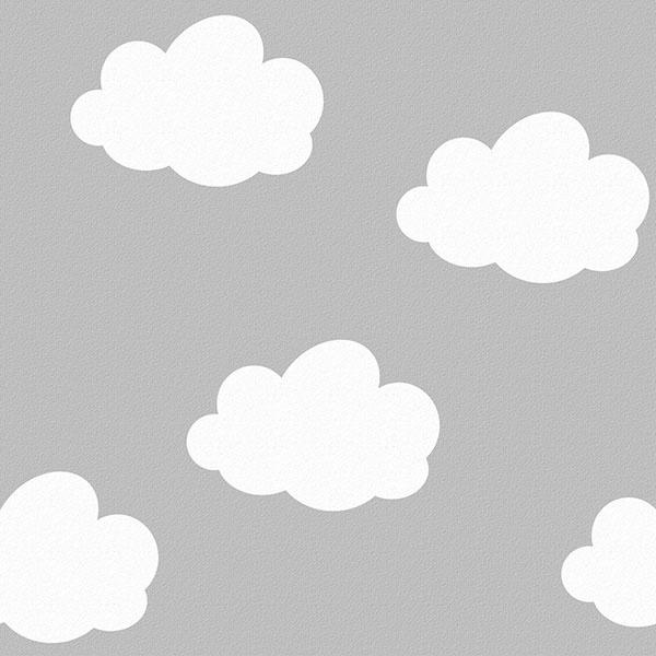 Behang Kinderkamer Wolken Grijs van Inke