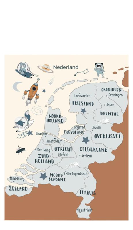 Poster Kinderkamer Nederland Space Dubbelzijdig Little & Pure