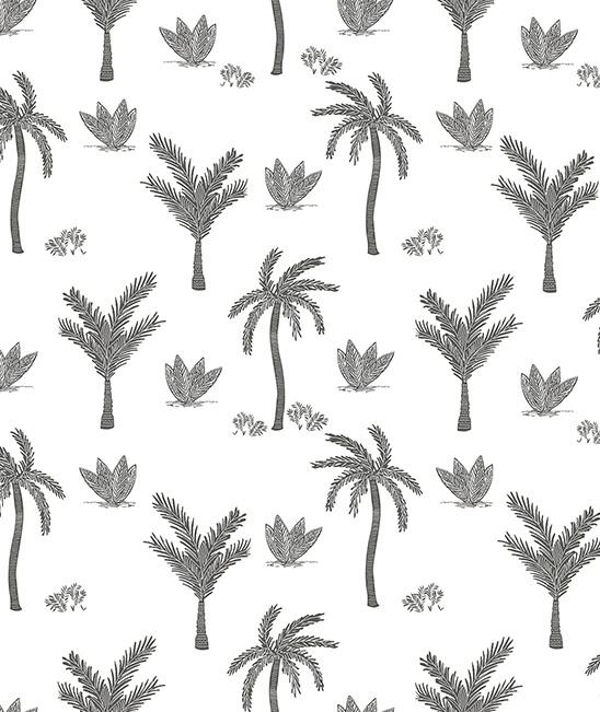 Wallpaper - Seamless Pattern With Monochrome Palmtrees Lilipinso