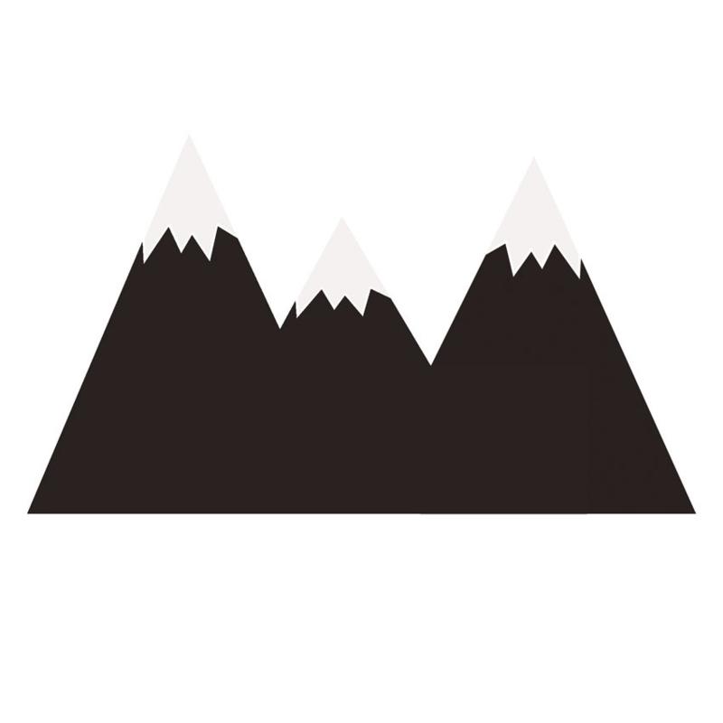 Muurstickers Kinderkamer Mountains Black Chalkboard Behind The Bed