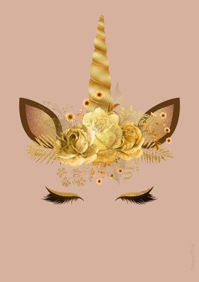 Poster Kinderkamer Unicorn Gold