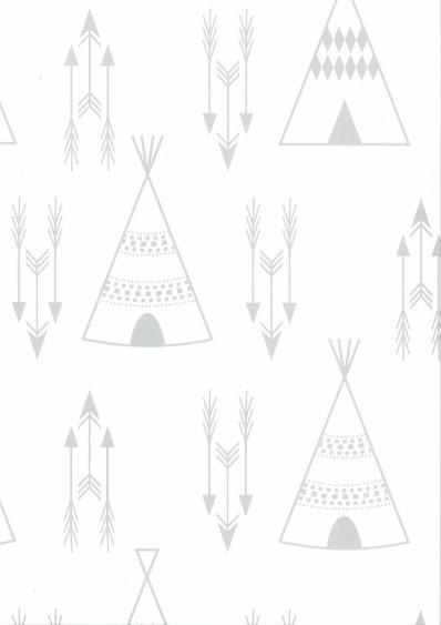 Behang Kinderkamer Tipi Grijs-Beige Fabsworld