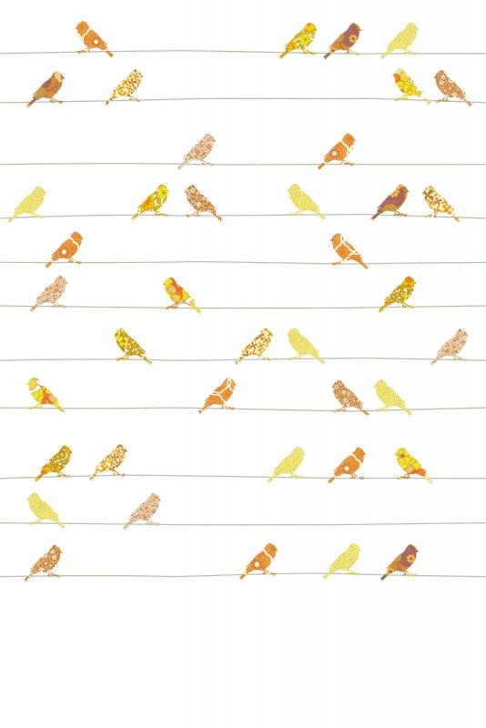 Vogeltjes Behang Lief.Inke Xl Muurprints Behang Kinderkamer Vogeltjes Geel Oranje