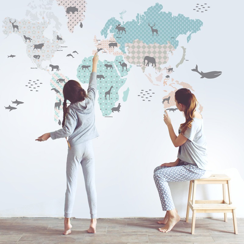 Muurstickers Kinderkamer World Map Pastel