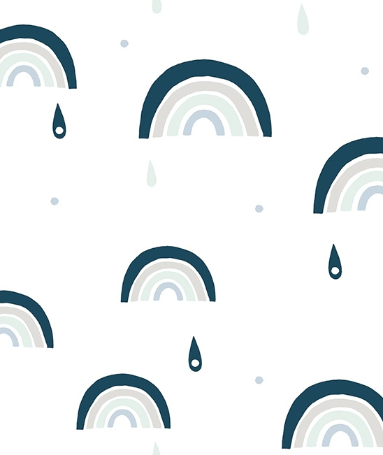 Wallpaper Seamless Pattern with Rainbows Blue Mood Lilipinso