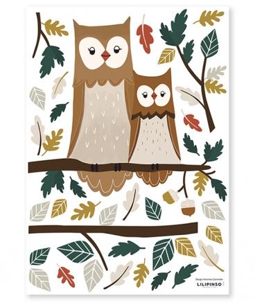 Muurstickers Kinderkamer Owl Family