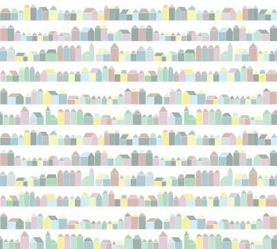 Inke XL Muurprints Behang Kinderkamer Huisjes Pastel