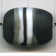 Glaskralen, plat, bewerkt, zwart/wit/grijs, per stuk