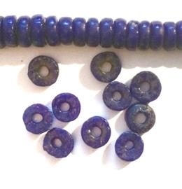 Schijfjes donkerblauw, niet doorzichtig, klein, glaskralen