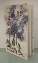 Boek, handgeschept papier, Seringen, 10 x 15 x 1 cm.