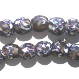 Glaskraal, rond, aubergine/wit/blauw/rood, doorsnede 0,9 cm. per set van 3