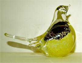 Vogel van kristal met vleugeltjes, geel met zwart