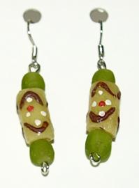 Oorbellen, handgemaakte glaskralen, groen