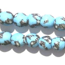 Glaskraal, rond, turquoise/wit/zwart, doorsnede 0,9 cm. per set van 3