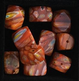 Glaskralen, millefiori, bruin-oranje, gestreept/bloemen, 3 stuks