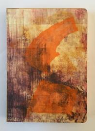 Handgemaakt boek, omslag: collage o.a. oranje zijdevloe papier