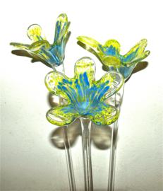 Bloem van kristal, lelie, geel/lavendelblauw