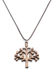 Houten boom, zwart kettinkje