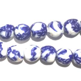 Glaskraal, rond, wit/blauw (1), doorsnede 0,9 cm. per set van 3
