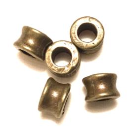 Dichte gladde bronzen kralen, klein: 0,8 x 0,5 cm. per set van 5
