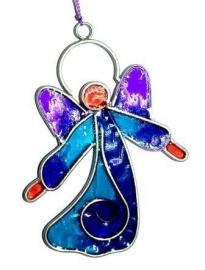Kleine blauwe engel met paarse vleugels