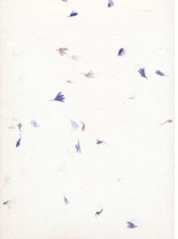 Handgeschept papier met korenbloemen,   A4 = 29 x 21 cm.
