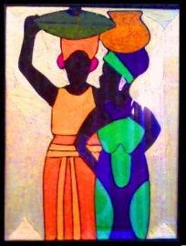 Een praatje, draadschilderij, Ghana