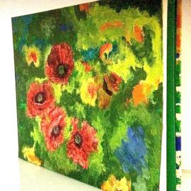 Boek, handgeschept papier, klaprozen, rood/groen, 28 x 21 x 1,5 cm.