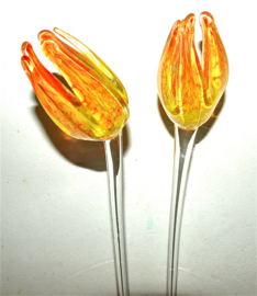 Bloem van kristal, tulp, oranje/geel