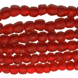 Glaskralen, rood, maat 2