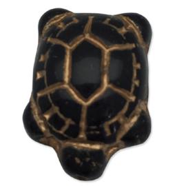 Glaskraal, schildpad, zwart met goudkleurige tekening, per stuk