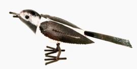 Vogel, Kwikstaartje, recycled metaal, zwart-wit