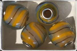 Glaskraal met metalen kern, okergeel/grijs, per set van 5 stuks