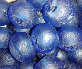 Blauwe glaskralen, maat 8 = 1,7 x 2,4 cm. per stuk