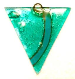 Hanger van glas, turquoise, metalen oogje