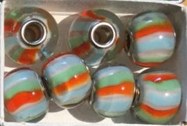 Glaskraal met metalen kern, blauw/wit/groen/oranje. per set van 5 stuks