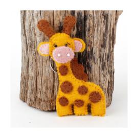 Giraf, sleutelhanger van vilt