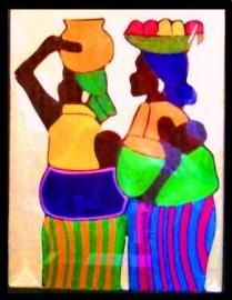 Terug van de markt, draadschilderij, Ghana