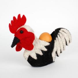 Eierwarmer; Zwart-grijze haan, handgemaakt, vilt.