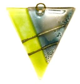 Hanger van glas, 2 kleuren groen, metalen oogje