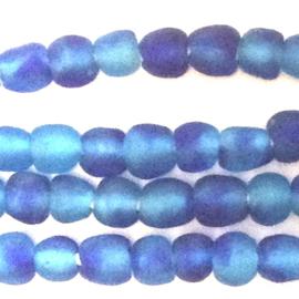gevlekt turquoise/blauwe glaskralen, maat 1