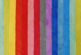 Handgeschept Lokta papier, kleuren van de regenboog, vel 76 x 50 cm.