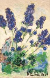 Boek, handgeschept papier, Blauw druifje, 10 x 15 x 1 cm.