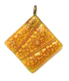 Hanger van glas, geel, metalen oogje