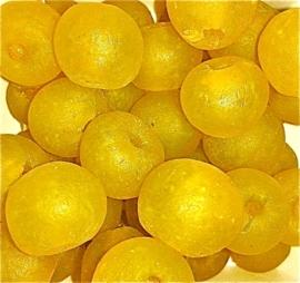 Gele glaskralen, maat 6 = 1,5 x 1,8 cm. per stuk