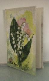 Boek, handgeschept papier, Lelietjes van Daalen, 10 x 15 x 1 cm.