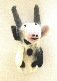 Koe, vingerpopje van 3D vilt