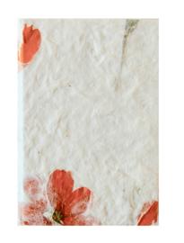 Boekje, handgeschept papier bloemen, 7x10cm.