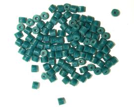 Cilindervormige glaskralen, groen/blauw